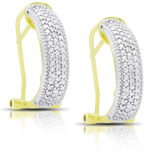 Finesque Gold Over Silver or Sterling Silver Diamond Accent Hoop Earrings