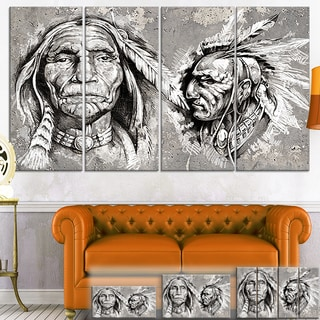 Designart 'Native American Indian Heads' Portrait Digital Art Canvas Print
