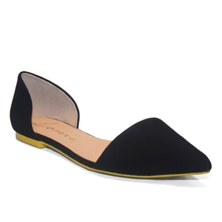 Lonia Shoes Women's Black Suede D'Orsay Flats
