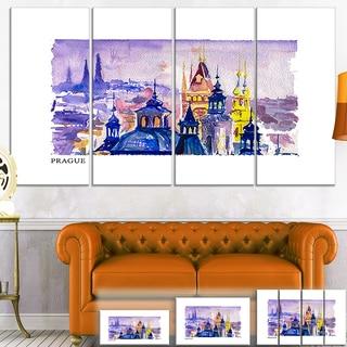 Designart 'Prague Vector Illustration' Cityscape Painting Canvas Print