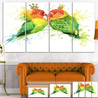 Designart 'Family Parrots' Watercolor Animal Canvas Art Print