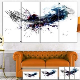Designart 'Dark Blue Multicolor Stain' Abstract Watercolor Canvas Print