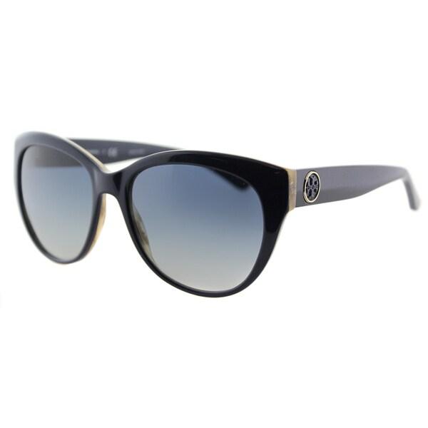 Tory Burch TY 7084 14924L Navy Gradient Lens Metal-Ring Logo Plastic Cat-Eye Sunglasses