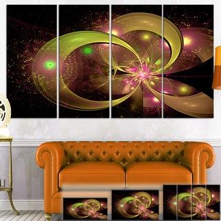 Designart 'Symmetrical Green Fractal Flower' Digital Art Floral Canvas Print