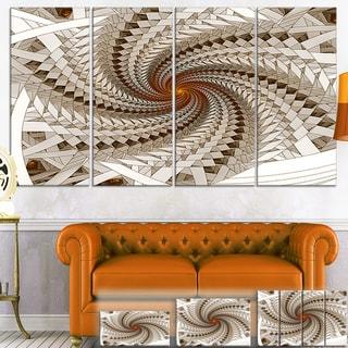 Designart 'White Fractal Spiral Pattern' Digital Art Canvas Print