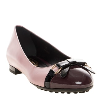 Tod's Leather and Patent Leather Bow Front Ballerina Flat