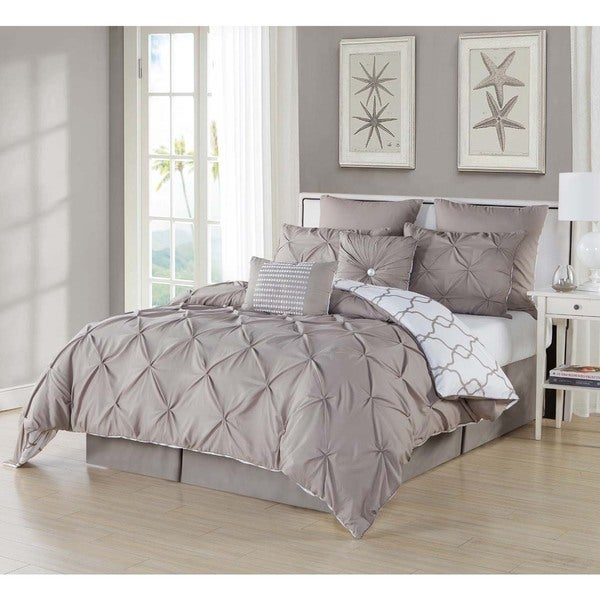 Reversible Pintuck Oversized 8-piece Queen Size Comforter Set in Taupe (As Is Item)