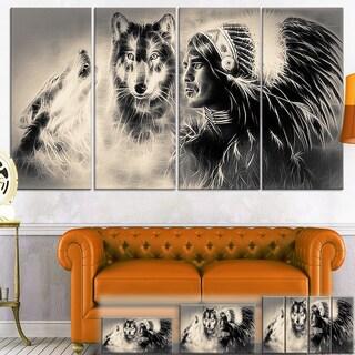 Designart 'Indian Warrior with Wolves' Digital Art Canvas Print