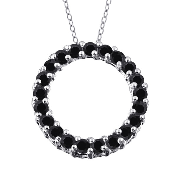 Jewelonfire Sterling Silver 1ct TDW Black Diamond Open Circle Pendant ( I2-I3)