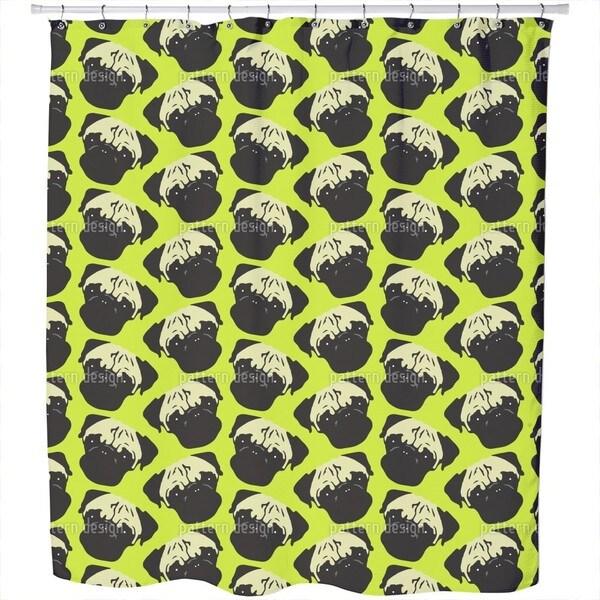 Puggy Pop Lime Shower Curtain