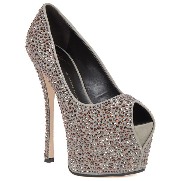 Giuseppe Zanotti Grey Suede Jewelled Peep Toe Pump