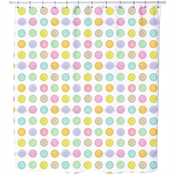 Polkadot Flowers Shower Curtain