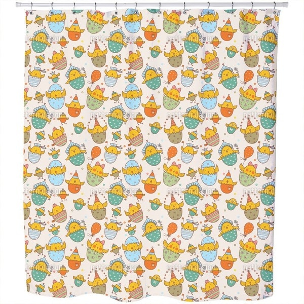 Russian Easter Chicks Shower Curtain