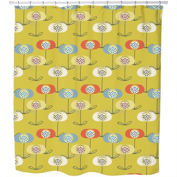 Retro Poppy Shower Curtain