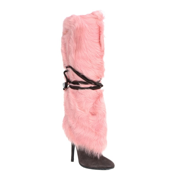 Giuseppe Zanotti Suede Boots with Pink Fur