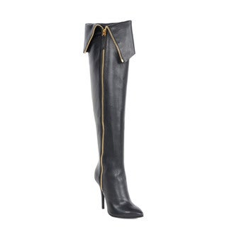 Giuseppe Zanotti Black Leather Boots with Cuff