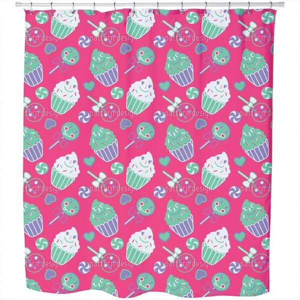 Happy Desserts Pink Shower Curtain