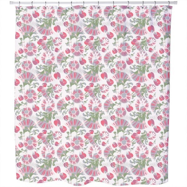 Geometric Summer Flowers Shower Curtain