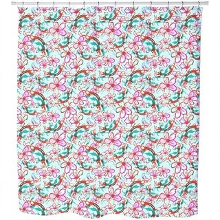 Koi in a Sea of Flowers Shower Curtain