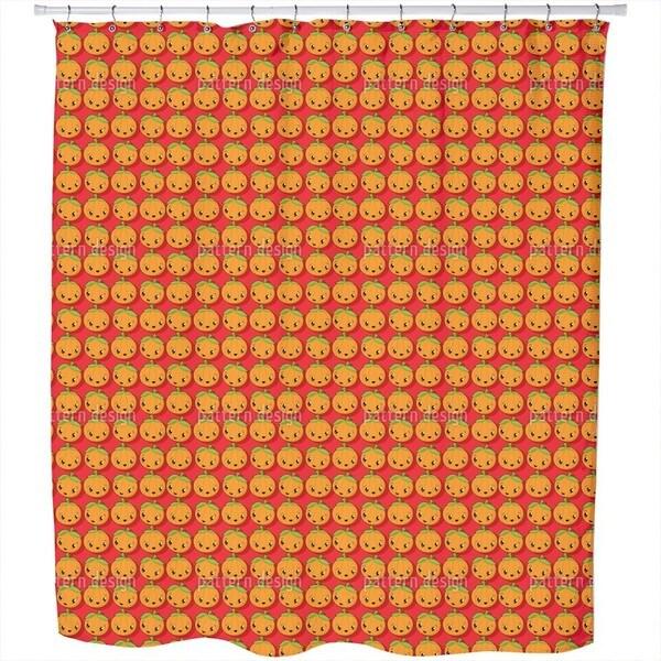 Kawaii Pumpkin Shower Curtain