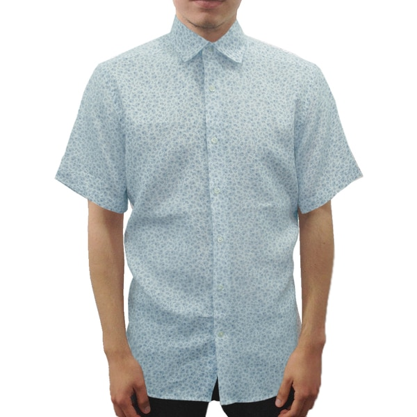 Men's Blue Floral Print Linen Short Sleeve Button Down Shirt