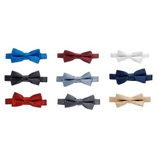 Sportoli Men's Formal Satin Adjustable Solid Pre-Tied Banded Tuxedo Bow Tie