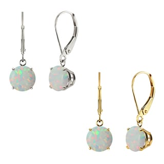 10k White Gold or Yellow Gold 8mm Round Created Opal Leverback Dangle Earrings