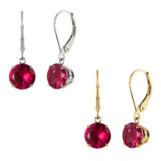 10k White Gold or Yellow Gold 8mm Round Created Ruby Leverback Dangle Earrings