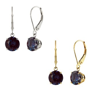 10k White Gold or Yellow Gold 8mm Round Created Alexandrite Leverback Dangle Earrings