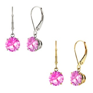 10k White Gold or Yellow Gold 8mm Round Created Pink Sapphire Leverback Dangle Earrings