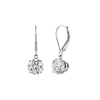 Sterling Silver 8mm Round White Topaz Leverback Dangling Earrings