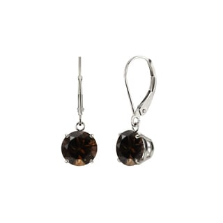 Sterling Silver 8mm Round Smoky Quartz Leverback Dangling Earrings