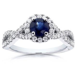 Annello 14k White Gold Round Sapphire and 1/2ct TDW Halo Diamond Criss Cross Ring (G-H, I1-I2)