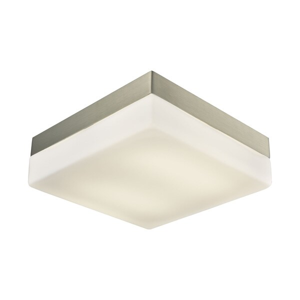 Alico Wyngate Large 2-light Square LED Flush Mount in Satin Nickel and Opal Glass 18010554