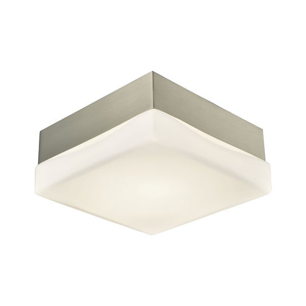 Alico Wyngate Small 1-light Square LED Flush Mount in Satin Nickel and Opal Glass 18010556