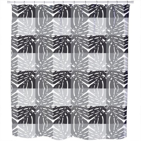 Monstera Grey Shower Curtain