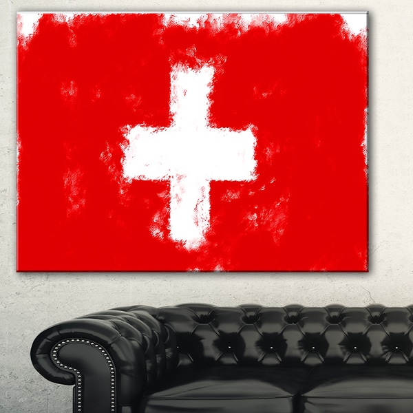Designart 'Switzerland Flag Illustration' Flag Painting Canvas Print