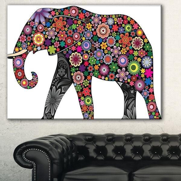 Designart 'Cheerful Elephant' Animal Digital Art Canvas Print
