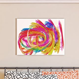 Designart 'Colorful Thick Strokes' Abstract Digital Art Canvas Print