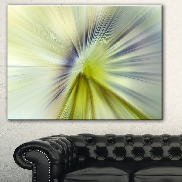 Designart 'Rays of Speed Green Purple' Abstract Digital Canvas Print 18011205