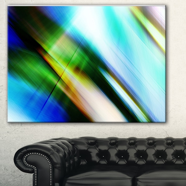 Designart 'Rays of Speed Blue Green' Abstract Digital Art Canvas Print 18011217