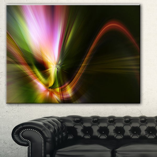 Designart 'Rays of Speed Green' Abstract Digital Art Canvas Print 18011225
