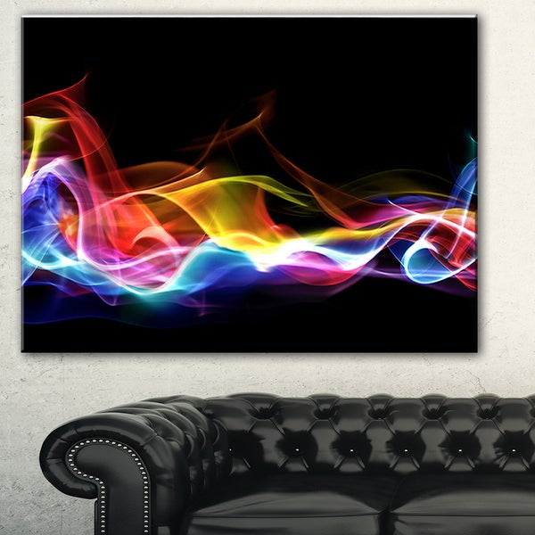 Designart 'Blue Yellow Waves in Black' Abstract Digital Art Canvas Print