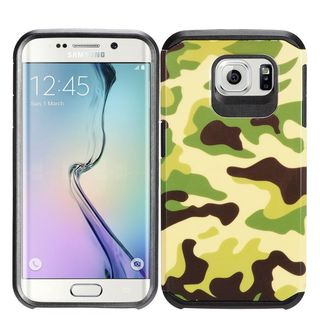 Insten Green/ Black Camouflage Hard PC/ Silicone Dual Layer Hybrid Rubberized Matte Case Cover For Samsung Galaxy S7