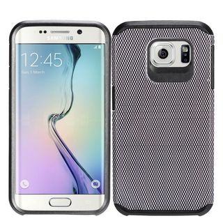 Insten Black Carbon Fiber Hard PC/ Silicone Dual Layer Hybrid Rubberized Matte Case Cover For Samsung Galaxy S7