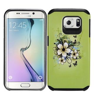 Insten Green/ White Hawaiian Flowers Hard PC/ Silicone Dual Layer Hybrid Rubberized Matte Case Cover For Samsung Galaxy S7
