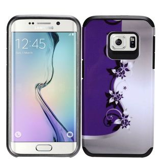 Insten Purple/ White Vines Hard PC/ Silicone Dual Layer Hybrid Rubberized Matte Case Cover For Samsung Galaxy S7 Edge