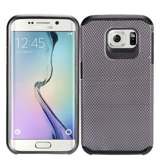Insten Black Carbon Fiber Hard PC/ Silicone Dual Layer Hybrid Rubberized Matte Case Cover For Samsung Galaxy S7 Edge