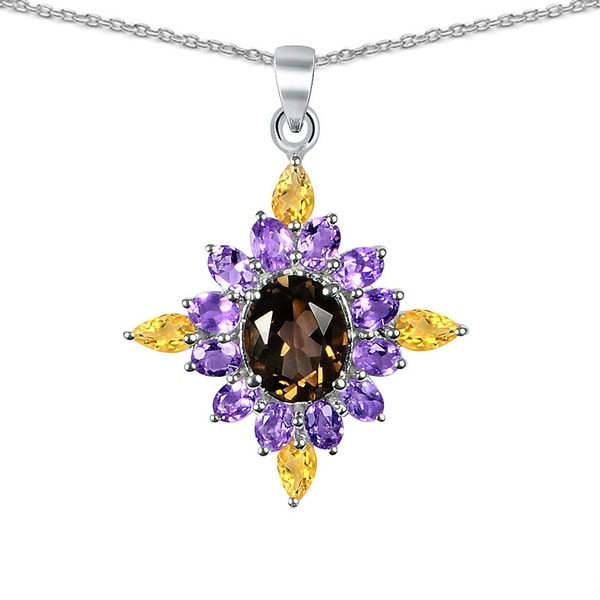Orchid Jewelry 925 Sterling Silver 8 5/9ct Smoky Quartz, Amethyst and Citrine Pendant