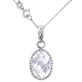 Orchid Jewelry 925 Sterling Silver 7ct Genuine White Topaz Necklace